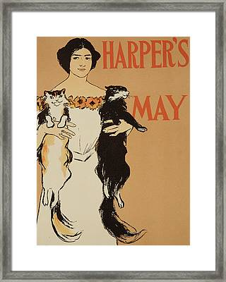 Harper's Magazine May Issue Framed Print by Edward Penfield