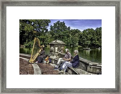 Harpist - Central Park Framed Print by Madeline Ellis