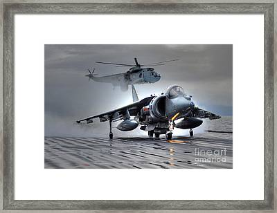 Harrier Gr9 Takes Off From Hms Ark Royal For The Very Last Time Framed Print by Paul Fearn