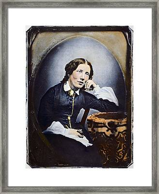 Harriet Beecher Stowe (1811-1896). American Abolitionist And Writer. Oil Over A Daguerrotype, C1852 Framed Print