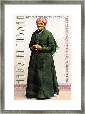 Harriet Tubman 20140210v1 With Text Framed Print by Wingsdomain Art and Photography