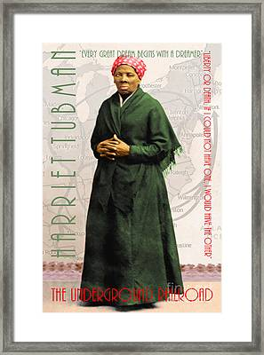 Harriet Tubman The Underground Railroad 20140210v2 With Text Framed Print by Wingsdomain Art and Photography