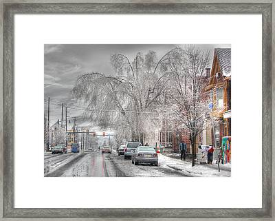 Harrisburg On Ice Framed Print by Lori Deiter
