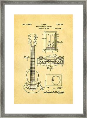 Hart Gibson Electric Guitar Pickup Patent Art 1937 Framed Print by Ian Monk