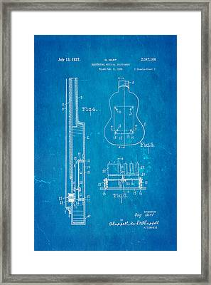 Hart Gibson First Electric Guitar 2 Patent Art 1937 Blueprint Framed Print by Ian Monk