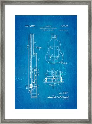 Hart Gibson First Electric Guitar 2 Patent Art 1937 Blueprint Framed Print by Ian Monk