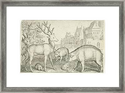 Hart, Hedgehog, Sheep, Pig And Frog, Nicolaes De Bruyn Framed Print by Nicolaes De Bruyn