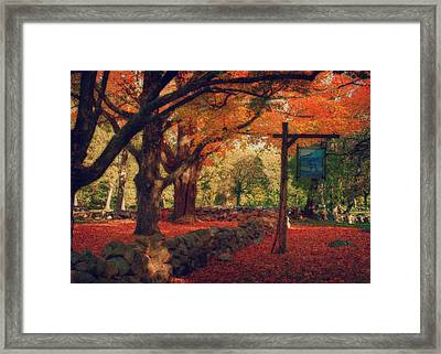 Framed Print featuring the photograph Hartwell Tavern Under Orange Fall Foliage by Jeff Folger