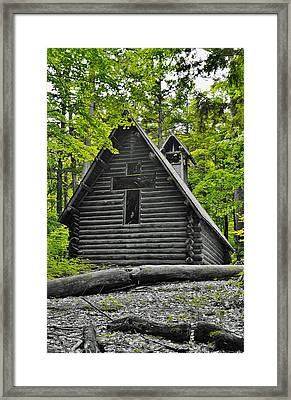 Hartwick Pines Chapel Bwg Framed Print