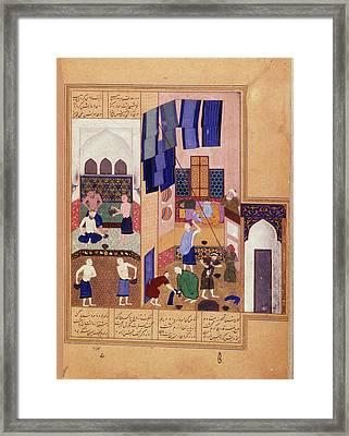 Harun Al-rashid And The Barber Framed Print
