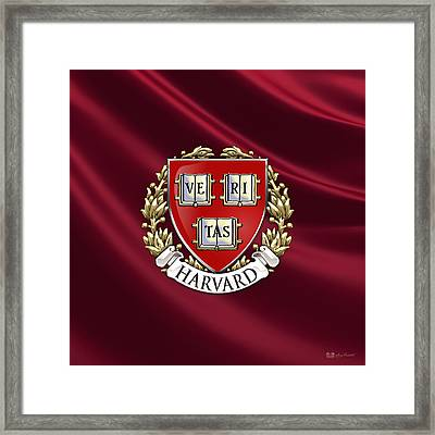 Harvard University Seal - Coat Of Arms Over Colours Framed Print