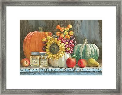 Harvest Bench Framed Print by Beth Grove