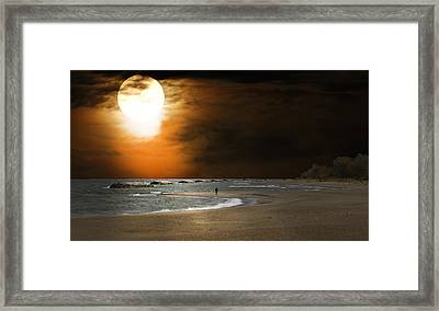 Harvest Moon On The Beach Framed Print by Randall Branham
