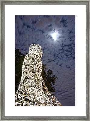 Harvest Moon Over Us Tolerance Statues Houston Texas Framed Print by Silvio Ligutti