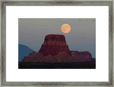 Harvest Moon Rising Over Tower Butte Framed Print by Michel Hersen