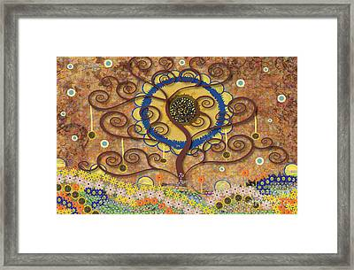 Framed Print featuring the tapestry - textile Harvest Swirl Tree by Kim Prowse