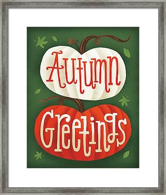 Harvest Time Autumn Greetings Pumpkins Framed Print by Michael Mullan