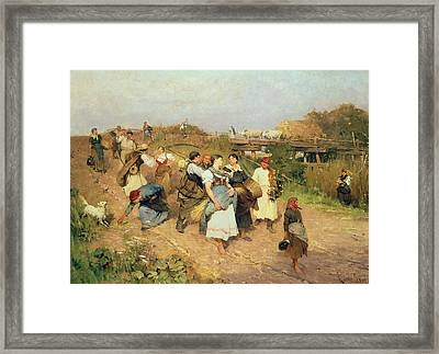 Harvesters On Their Way Home Framed Print by Lajos Deak Ebner