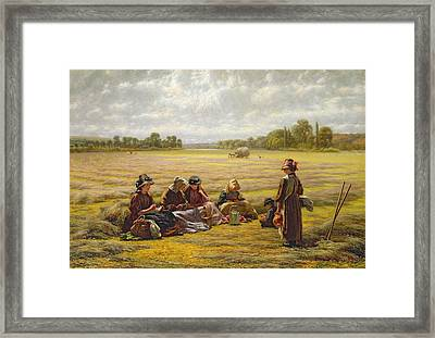 Harvesters Resting In The Sun, Berkshire, 1865 Oil On Canvas Framed Print by Walter Field