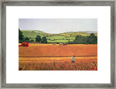 Harvesting In The Cotswolds Framed Print by Maggie Rowe