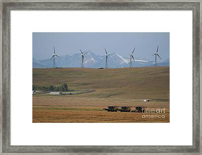 Framed Print featuring the photograph Harvesting Wind And Grain by Ann E Robson
