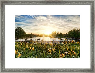 Summertime On Harveston Lake Framed Print
