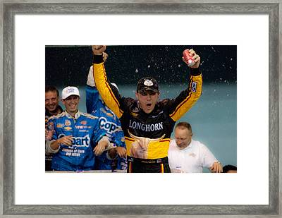 Harvick Wins Framed Print by Kevin Cable