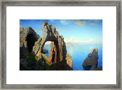 Haseltine's Natural Arch At Capri Framed Print by Cora Wandel