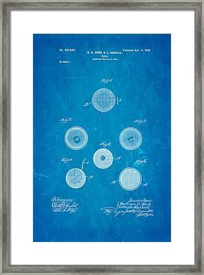 Haskell Wound Golf Ball Patent 1899 Blueprint Framed Print