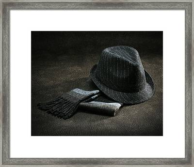Framed Print featuring the photograph Hat And Scarf by Krasimir Tolev