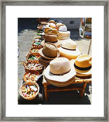 Hat Market Amalfi Coast Italy  Framed Print by Irina Sztukowski