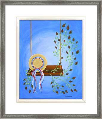 Hat On A Swing Framed Print