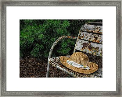 Hat On Chair1 Framed Print by Tom  Reed