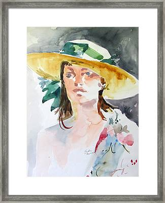 Hat With Green Ribbon Framed Print
