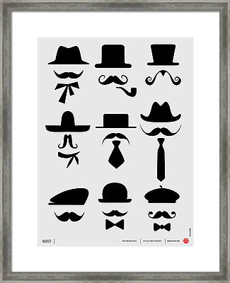 Hats And Mustaches Poster 1 Framed Print by Naxart Studio