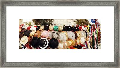 Hats On Display For Sale On The Street Framed Print by Panoramic Images