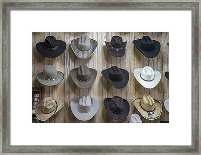 Hats On Nashville Wall In Color Framed Print by John McGraw