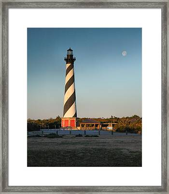 Hatteras Lighthouse And Moon Framed Print by Steven Ainsworth