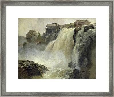 Haugfoss In Norway Framed Print