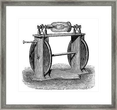 Hauksbee Electrostatic Generator Framed Print by Science Photo Library