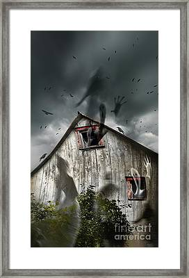 Haunted Barn With Ghosts Flying And Dark Skies Framed Print by Sandra Cunningham