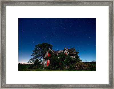 Haunted Farmhouse At Night Framed Print