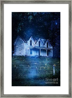 Haunted House At Night Framed Print by Stephanie Frey