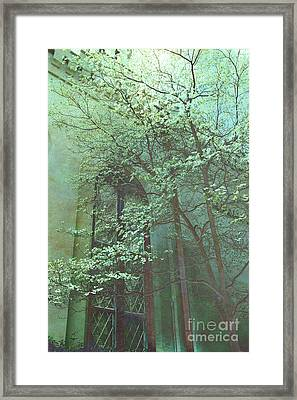 Haunting Surreal Gothic Dark Green Teal Trees On Church Window - Surreal Green Spooky Trees  Framed Print by Kathy Fornal