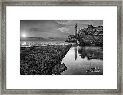 Havana Sunset Black And White Framed Print