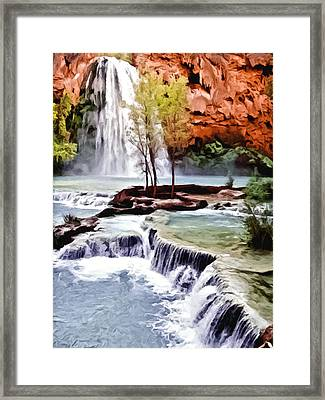 Havasau Falls Painting Framed Print by Bob and Nadine Johnston