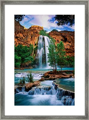 Havasu Cascades Framed Print by Inge Johnsson