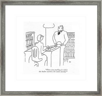 Have You Anything In Which The Butler Murders Framed Print