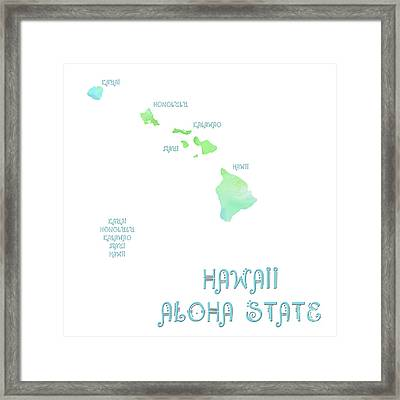 Hawaii - Aloha State - Map - State Phrase - Geology Framed Print by Andee Design