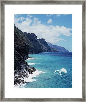 Hawaii, Kauai, Waves From The Pacific Framed Print by Christopher Talbot Frank